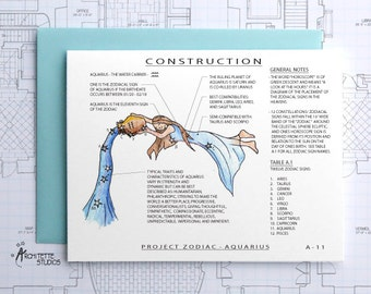 Project Zodiac - Aquarius - Blank Architecture Construction Cards