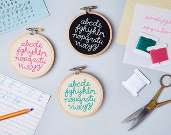 Mini Alphabet Embroidery Kit - DIY typography stitch kit