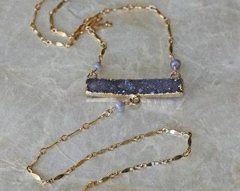 Druzy Necklace, Bar Necklace, Crystal Necklace, Y Necklace, Druzy Bar Necklace, Raw Stone Necklace, Long Necklace, Statement Necklace