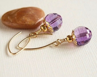 Mauve Amethyst Earrings, 14kt Gold Filled Beaded Earrings, Purple Earrings, Gemstone Earrings, AAA - TRANQUILITY