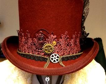 VEGAN - CUSTOM MADE Burgundy and black steampunk top hat