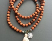 wood mala prayer  necklace wrap bracelet with tassel and charm customizable 108 beads