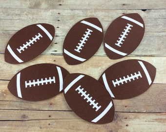 6 Football Die Cuts - Scrapbook Die Cuts - Party Decor - CHOOSE YOUR COLOR