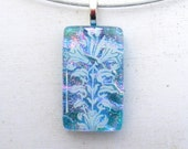 Flower necklace | Art Deco Flower | Fused Glass Jewelry | Floral Pattern | White Flower Art | Romantic Jewellry | Pink Blue | Gift idea