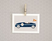 Clearance | Blue Racecar Print | Kids Wall Art | 5x7 | Boy