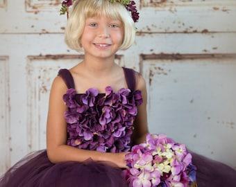 Flower girl dress Deep Purple and Lavender tutu dress, flower top, hydrangea top, toddler tutu dress