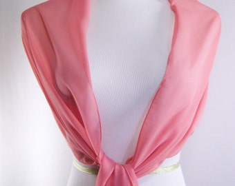 Evening Wrap - Coral - Shawl Scarf - Stole - Coral Pink One Shoulder Drape - Coral Pink Chiffon - Pashmina - Dressy Wrap - Extra Long