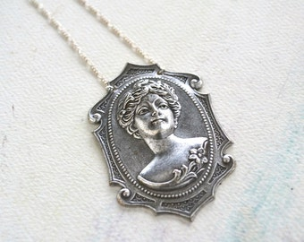 Lady in the Water Necklace - cameo necklace, long cameo necklace, silver cameo necklace, opera necklace, fashion under 50