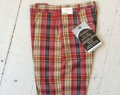 1960s NOSWT Plaid Men's Bermuda Shorts AMBLERS Red Gold Waist 28 Unisex