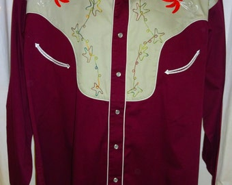 "Fantastic Vintage Reproduction ""Rockmount"" Two Tone Rockabilly Western Shirt L/XL 50"""