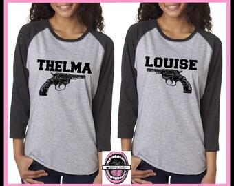 Thelma and Louise GUN Baseball shirts. CHARCOAL Set of 2.Unisex. 3/4 length sleeve.Badass feminist. Best friends.feminist. Woman clothing