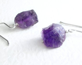 Rough Amethyst Earrings, Purple Crystal Jewelry, Raw Amethyst Dangle Earrings, Natural Quartz Jewelry, Sterling Silver Chunky Earrings