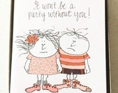 Vintage Party Invitations - 12 Cards with Envelopes