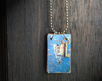 The Key: US Map And Painted Brass Journal Necklace