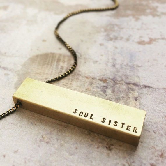 Bar Necklace, Name Necklace, Soul Sister Necklace, engraved Name necklace, gift for BFF, Mantra necklace
