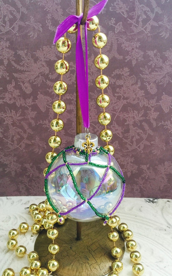 Mardi Gras Ornament Beaded Glass Fleur De Lis Charm NOLA New Orleans French Theme Party Wedding Decor  Centerpiece Aisle Bridal Christmas