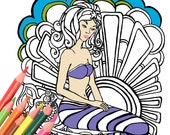 Mermaid Coloring Book Page Digital Download - Original Art from A Colorful World  Surf & Sun Adult Coloring Book by Alexine and Lori Goldwag