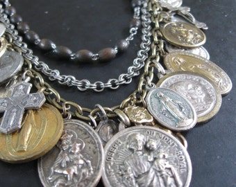 Relics - Catholic Saint Medallion Long Statement Necklace with Upycled Rosary and Antique Medals
