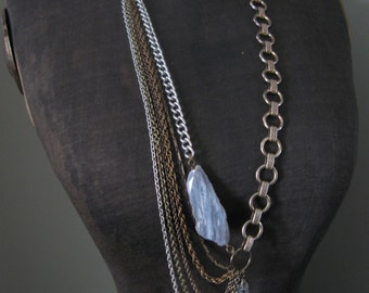 Sway III - Upcycled Chain Statement Necklace - Mixed Metals and Agate