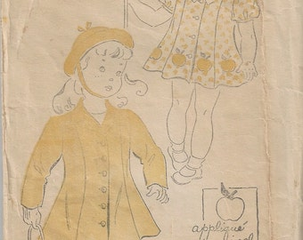 RARE 40s New York 1650 Girl's Dress and Coat Sewing Pattern Size 2