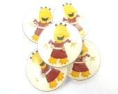 """5 Yellow Monster Sewing Buttons.   Monster Buttons for Sewing.  Monster Buttons for Crafts. 3/4"""" or 20 mm."""