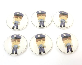 "6 Policeman Buttons. Police Buttons.  Buttons for Boys.  Sewing Buttons.  Novelty Buttons.  Decorative Buttons. 5/8"" or 17 mm Round."