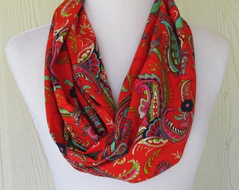 Paisley Infinity Scarf, Scarlet Red Floral Scarf, Chiffon Fashion Scarf, Necklace Scarf, Women's Scarves, Eclectasie