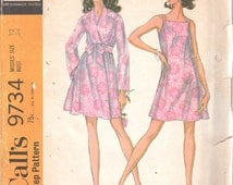 McCalls 9734 1960s Misses Robe and Nightgown Pattern Juli of Slumbertogs Womens Vintage Sewing Pattern Size 12 Bust 34 UNCUT