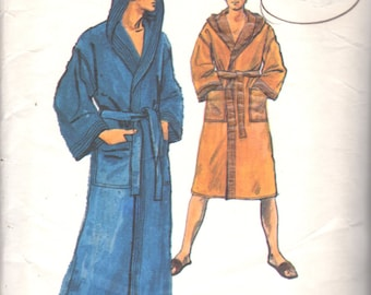 Vogue 9616 1970s Mens Hooded Wrap Robe and Slippers Pattern Shawl Collar Adult Vintage Sewing Pattern Size Small  Chest  3638 40
