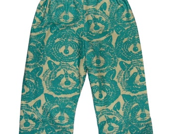 Raccoon Pants - Forest - Woodland - Raccoon - Blue Pants - Teal Pants - Toddler Pants - Boy Pants - Girl Pants - 2T - 3T - 4T - 5T