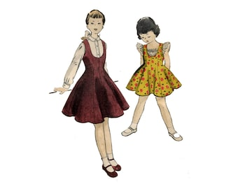 1950s Girls Summer Dress or Jumper Pattern Flared Summer Dress Button Up Blouse Ruffle Inset Vogue 2789 Size 8 Vintage Sewing Pattern