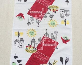 Vintage Towel Italian Dinner Menu in the Mediterranean