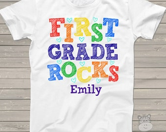 Back to school STUDENT shirt - first grade or any grade rocks colorful Tshirt MSCL-020
