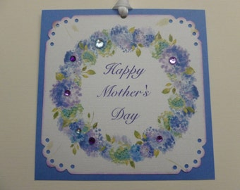 Mothers Day Tags, happy mother's day, blue hydrangea wreath, floral tags, sparkly, lavender blue and white - set of 4