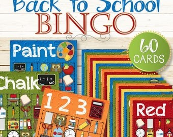 60 Back to School Bingo Cards - INSTANT DOWNLOAD