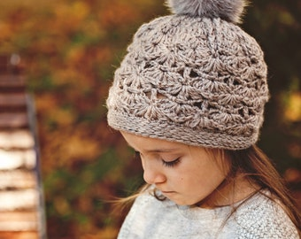 Crochet PATTERN - Faux Fur PomPom Hat (baby to adult)