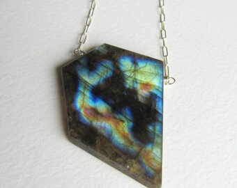 Geometric Asymmetrical Labradorite Necklace - Made in Seattle