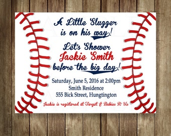 Baseball Baby Boy Shower Invitations JPEG Digital File