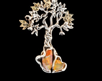 Tree of Life Tree of Life Necklace Tree Necklace Silver Fire Opal Necklace Primeval Forest Tree Pendant #3 Mexican Fire Opal Opal Jewelry