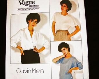 Loose Pullover Top, Blouse Vogue Sewing Pattern Designer Calvin Klein Misses Size 14 UNCUT Womens Wrap Blouse Pattern