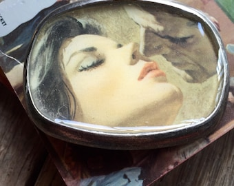 romance novel kiss belt buckle repurposed vintage image pewter buckle women's fashion eco gift repurposed book cover