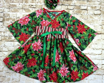 Christmas Dress for Girls - Red Christmas Dress - Christmas Dress - Boutique Dress - Little Girl Dress - Long Sleeeves- Sizes 2T to 7 years