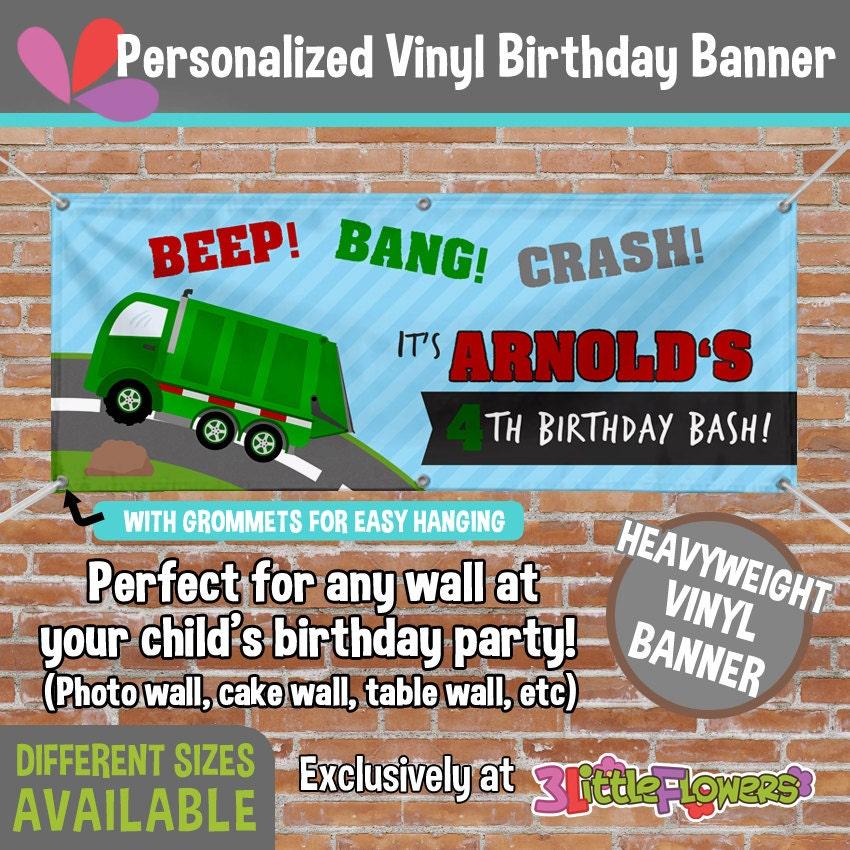 Garbage Truck Vinyl Banner Personalized Truck Birthday Vinyl