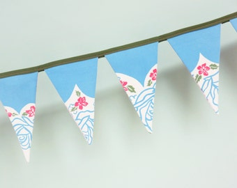SALE! Pennant Banner Flag Garland Bunting Wall Decor, Vintage Floral Textile, Blue, Green & Pink Flowers