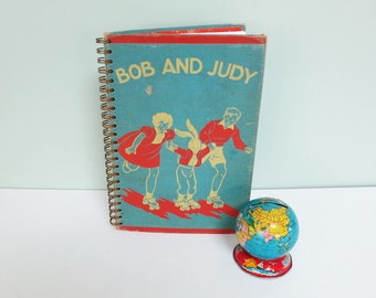 Repurposed Book Cover Journal, Bob and Judy, ©1940 Children's Primer, Wire Spiral Binding, 50 Lined Pages, Girl, Boy & Bunny Roller Skating