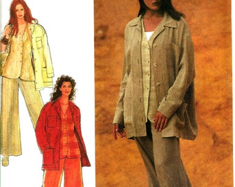 Style 2410 Sewing Pattern for loose Fitting Jacket, Wide Leg Pants with Waistband, and Button Front Vest in Misses' Sizes 8-18