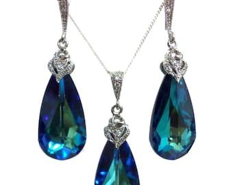 Peacock Wedding Jewelry Set, Something Blue Bridal Earrings, Peacock Wedding Necklace, Swarovski Teardrop Bridal Jewelry, Gift for Her, ARIA