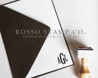 Monogram Stamp, Wedding Monogram Stamp, Custom Stamp - Style No. 14