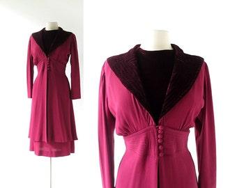 Vintage 1930s Dress / Stage Door / Crepe and Velvet / Two Piece Dress / 30s Dress / M L