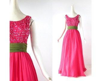 Vintage 1950s Gown / Raspberry Leaf / Chiffon Dress / 50s Dress / Sequin Dress / XXS